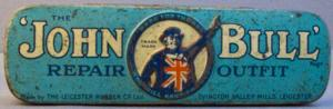 Vintage John Bull bicycle puncture repair kit. British made (top view).