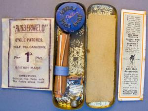 Vintage John Bull bicycle puncture repair kit.  British made (inside view).