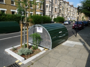 Cyclehoop Lambeth Bikehangar.  Made in Britain.