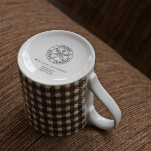 London Cloth Company Shepherd's Check Mug by William Edwards. Made in England. Base view.