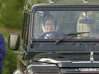 Queen Elizabeth in her Land Rover. Undated but 2012 or before.