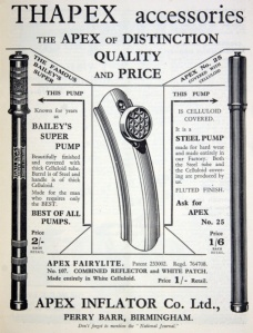 Apex Inflator Co of Aldridge Road, Perry Barr, Birmingham advertisement from November 1935; from Grace's Guide