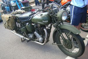 An old Triumph 3HW 350cc motorbike. These were made at Meriden in the West Midlands from 1942. Photographed June 2010.