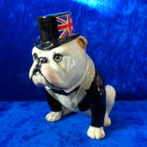 "A ""vintage"" (1994) Royal Doulton / UK. I. Ceramics Ltd British bulldog - DA 228 (white) with black jacket. Limited edition of 1000. Height 5"". Made in England."