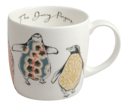 Hudson and Middleton Anna Wright Dancing Penguins York Shaped Mug . Made in England.