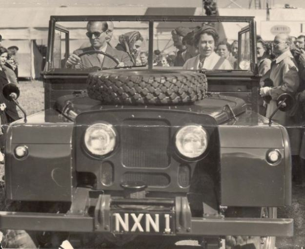 1955. The Duke of Edinburgh drives to the European Horse Trials with the Queen and the Duke and Duchess of Gloucester in a Land Rover.