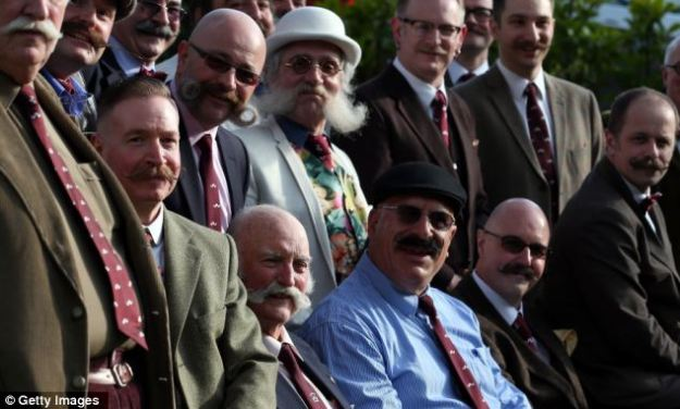 The chaps of the Handlebar Club gathering in Bath for their annual general meeting 2013