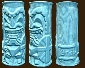 Britiki Blue bar mug. Made by CheekyTiki in the UK.