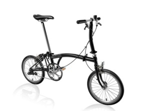 Brompton S1E folding bicycle.  Made in England