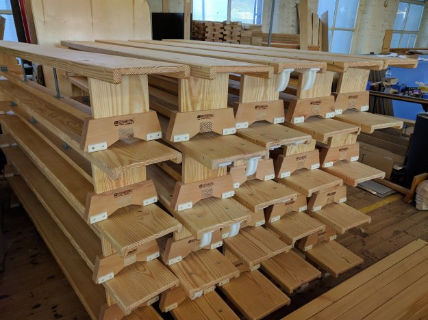 A batch of timber PE benches made in the Continental Sports Huddersfield factory ready for final inspection, wrapping and shipping to customers (from twitter)