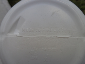 "Moss Bikes Racing Bidon (cycling water bottle). 500cc - base view. You can see the words ""made in England""."