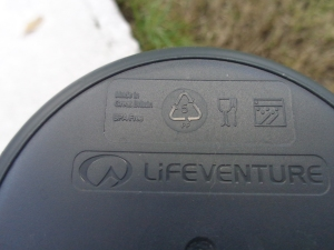 "LifeVenture plastic Ellipse mug in grey. Made in the UK. Base view - you can see the words ""Made in Great Britain"""