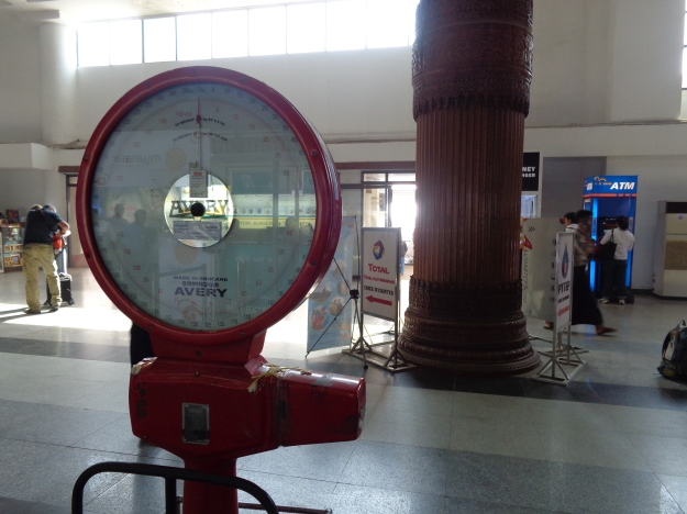 Old made in England Avery weighing scales still in use at Rangoon Airport (in the domestic terminal) February 2015.