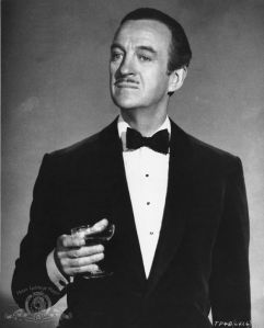 The Pencil moustache. Often associated with spivs, this caddish moustache is closely cropped and thin enough to have been traced by a pencil, hence the name. Here it is illustrated by Sir David Niven (in The Pink Panther, 1963).