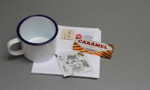 Trickett enamel mug and Emergency Brew Kit. Made in the UK.