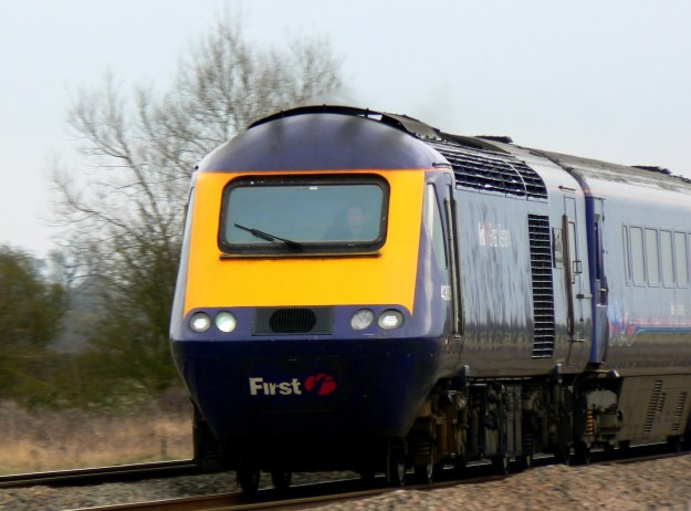 "HST 125 (High Speed Train) going west near Shrivenham. ""The HST125 is arguably the most successful British passenger train set to have been developed in the post-war years. Despite its being relatively old it remains an indispensable workhorse on the non-electrified inter-city routes."" March 2011. A totally British built train."