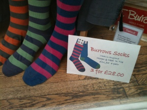 Burrows cotton socks. Made in England.