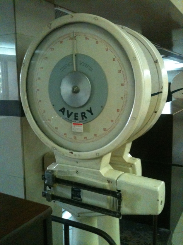 Old Avery made in England Scales still in use at LYP Faisalabad (Lyallpur) Airport in Pakistan on 25 Aug 2015