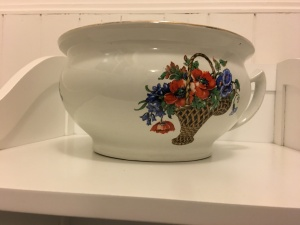 Another vintage made in England chamber pot. Unknown manufacturer. Unknown date.