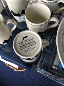 Victoria Armstrong do themed mugs on sale in a gift shop in Inverness Airport. Photograph by author.