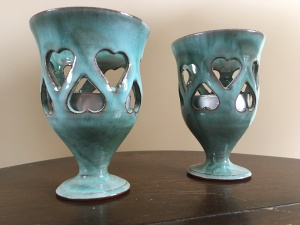 Woburn Pottery candle holders. Made in England. Photograph by author.