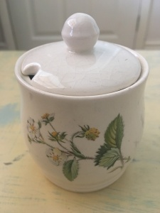 Sugar bowl designed and produced for Fortnum & Mason by Crown Windsor. It is not labelled made in England but I think it would have been made at