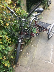 A Pashley tri-cycle parked up in Cambridge 29 Oct 2016. Photograph by author.