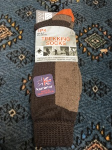 Karrimor men's 6-11 Trekking Socks. Made in Great Britain. Photograph by author. These socks are sufficiently long, warm and comfortable.