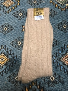 J Alex Swift fawn colour 100% wool ribbed socks. Handwash only. Made in Gt. Britain. Medium weight, medium length and very comfortable. Photograph by author.