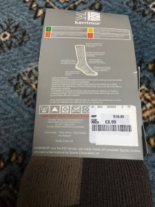Karrimor men's 6-11 Trekking Socks. Made in Great Britain. Photograph by author. Label detail (1)