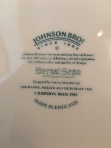 "Johnson Bros plate ""Eternal Beau"" dinner plate, dated 1981. Made in England. Back stamp view. Photograph by author."