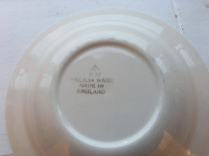 A vintage Nelson Ware white bowl. Produced in 1977 for HM forces. Photograph by author. Rear stamp view.