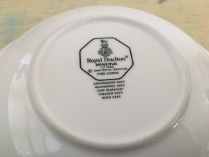 Royal Doulton Minerva bowl, dated 1989, Made in England. Photograph by author. Underside stamp view.