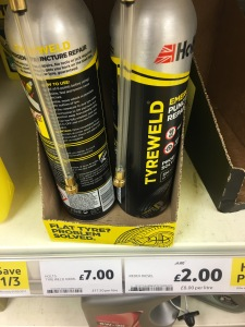 Holts Tyreweld. Made in GB. On display in Tesco Flitwick 30 January 2017. Photograph by author.