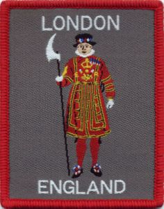 Jacquard Weaving Company London England Badge Patch 8.5cm x 6.6cm. Made in the UK.