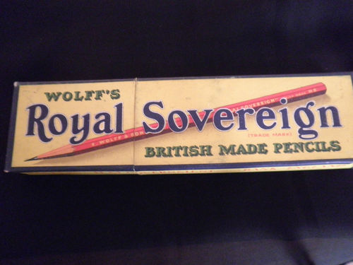 Vintage-Wolff's Royal Sovereign British Made Pencils HB-Box with all 12 pencils