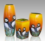 Puffin Island vases from Anita Harris Pottery. English Made.
