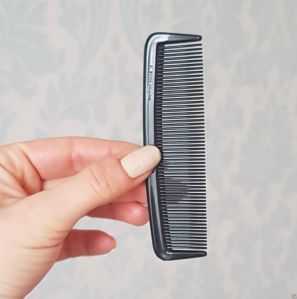 "Duralon 4"" (10cm) Small Grooming Comb. Very strong, flexible, unbreakable, soft edged teeth. British Made. Perfect for grooming your beard or moustache. In black. Available in Green, Brown, TT Shell, White or Black."