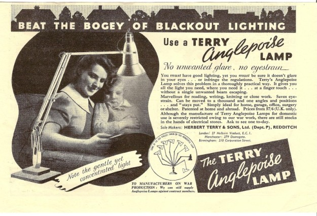 Beat the bogey of blackout lighting. Use a Terry Anglepoise Lamp. Advertisement from c. 1939