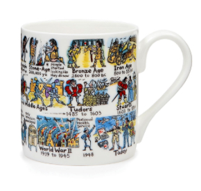 'Timeline' Fine Bone China Mug at Winchester Cathedral shop. Made in the UK