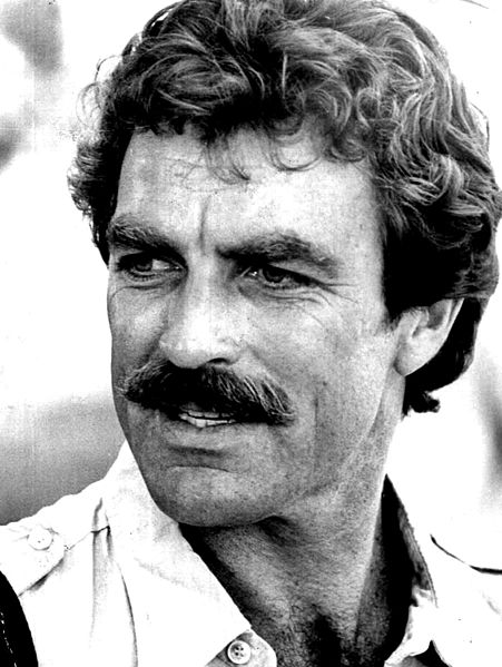 Tom Selleck in Magnum P.I. publicity photo, 1980.  A classic American moustache.