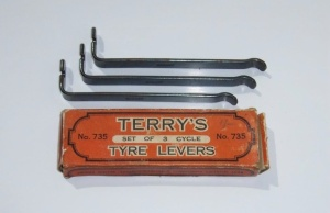 VINTAGE, TERRY'S SET OF 3 CYCLE TYRE LEVERS. Stamped Made in England.