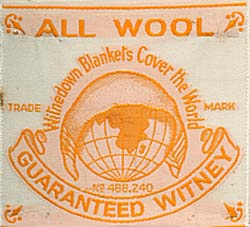 Label from a 'Witnedown' blanket made by Smith and Philips'.