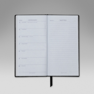 Smythson black 2016 Memoranda diary. Monday start with notes page facing. Made in England.
