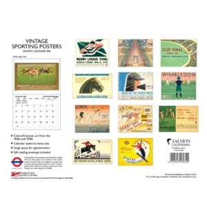 "London Transport Museum Vintage Sporting Posters Wall Calendar 2016. Back view. Bottom left it says ""designed and printed in Britain"". Sunday start calendar. Made by J Salmon Ltd (see below)."