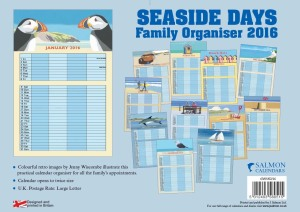 Salmon Calendars Seaside Days Organiser 2016. 1st of the month start. Designed and printed in Britain.