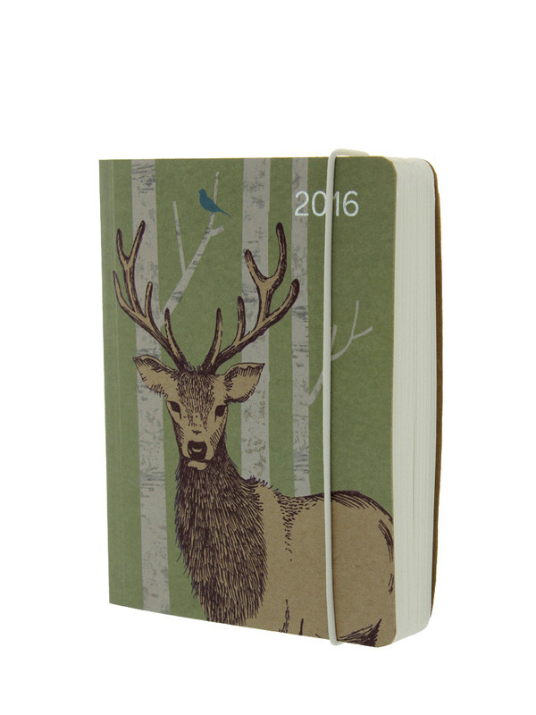 Go Stationery Stag - A6 2016 full year diary. Page-per-day layout (Saturday and Sunday on one page). Elastic closer. 140mm x 105mm.