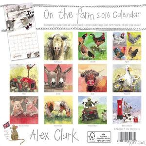 Alex Clark CAL0416 On The Farm Calendar 2016. Made in the UK. Back view.