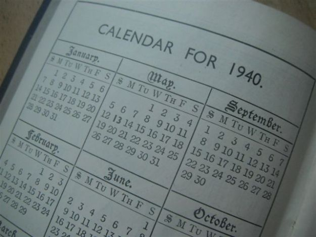 The calendar page from a 1940 diary, Sunday start. This particular diary is a page-per-day Charles Letts's Diary, made in England for a British market.