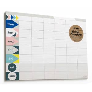 Weekly Planner Pad by Lollipop Designs. Monday through Sunday. 21cm x 30cm. Made in England. Simple innovative use of colums in this desk calendar an ideal family organiser.